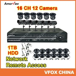 CCTV DVR System Security 12X Camera 16CH Channel Indoor & Outdoor Network Remote Access CCTV System