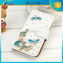 Fashion PU Leather Full Cover Crystal Bling Diamond Phone Case for Nokia Lumia 640XL