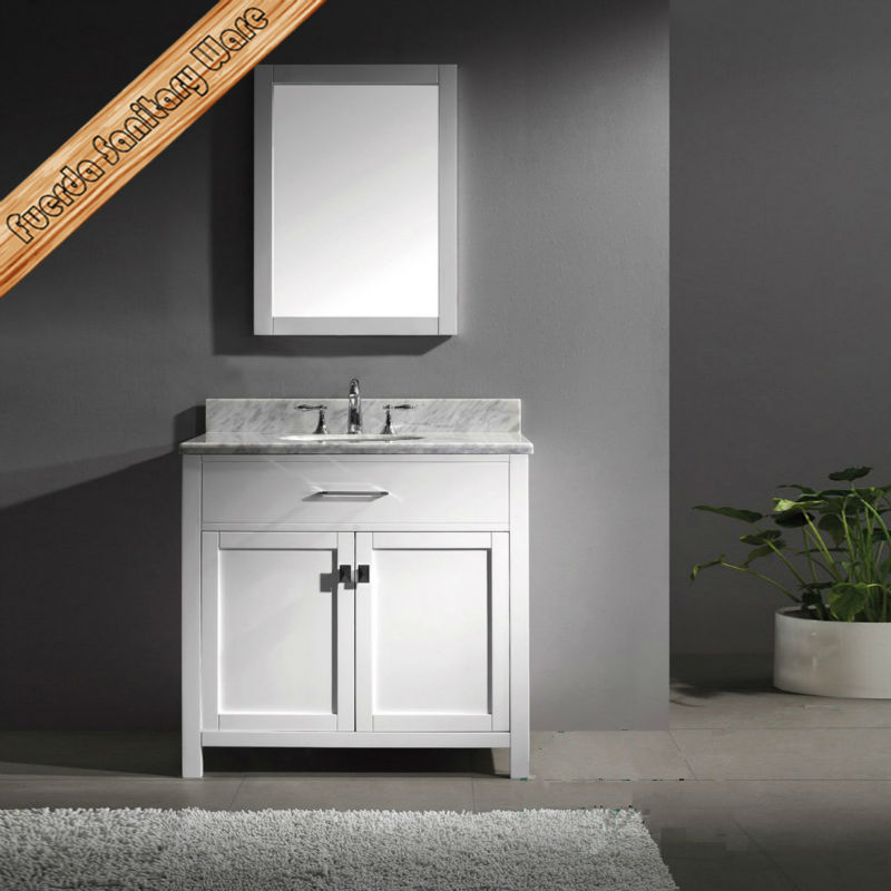 modern 36 inch free standing single sink carrara white