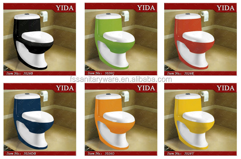 Colors Red Yellow Black Green Ceramic Toilet Water Closet