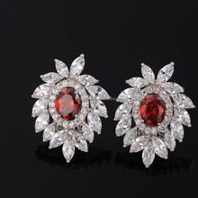 Fashion Design Platinum Plated Cubic Zirconia Stud Earring