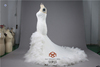 Real Image HMY-E0253High End Custom Luxurious Layered Feathers Tail Organza Ruffled Wedding Dresses Mermaid Suzhou Factory