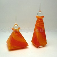 Refillable Orange and Yellow Pyramid Shaped Glass Perfume Bottle
