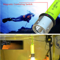 XM-L2 T6 LED Diving Waterproof Underwater Flashlight Lamp Torch 3 Mode T6 LED 18650/AAA Battery Yellow Light