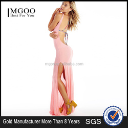 2015 new design fashion ladies western long dress knitted jersey sexy back open dress MGOO wholesale one piece party dress