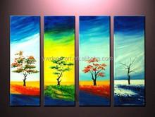 Handmade multiple panels four seasons oil painting trees
