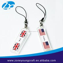 Promotional acrylic national flag keychain factory