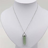 38x10mm Light Green Sharped Precious Stone Crystal Pendant Necklace