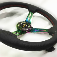 3 spoke NEO CHROME steering wheel black hole leather
