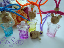 MK40 10ML Wholesale Colored Wine Pot Shape Cartoons Wooden Cap With Rope Glass Refill Empty Car Perfume Diffuse Hanging Bottle