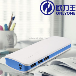LED flashlight power bank 13000mah with 3 USB output ports for iPad/iPod/iPhone