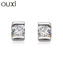 OUXI ladies suitable shine diamond zircon earrings, sterling silver earrings stud Y20060