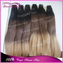 wholesale tape in human hair extensions #1b/4/27 sraight virgin braizlian ombre remy tape hair extension invisible skin weft
