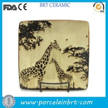 Decorative giraffe painting square stoneware salad plate