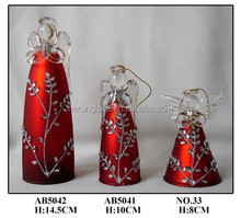 Hand Blown Chirstmas Hanging Glass Angel Sets with Diamonds