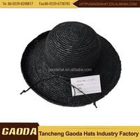 High Quality Womens Crochet Raffia Straw Hats With Up Brim