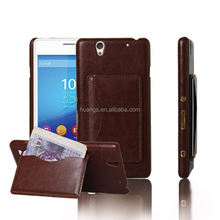 Wallet Stand Hybrid Leather Bags blank sublimation leather phone case for Sony Xperia C4
