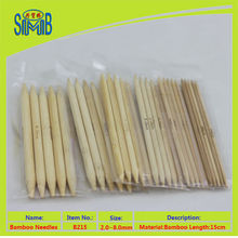5 pieces package double points bamboo knitting needle with low price