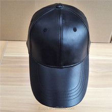 New Arrival Black Genuine Mens Leather Baseball Cap Wholesale with Velcro Closure