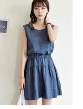 South Korean imports of cotton sweet summer new hospital wind waist sleeveless vest dress bottoming