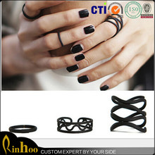 Fashion stylish matte black ring set jewelry