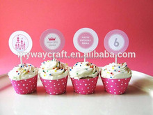 Wholesale mini pink lovable princess paper cupcake stands/cupcake toppers for birthday party