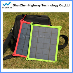 5W mono USB charger-port semi flexible solar panel with regulator built-in for mobiles, power bank