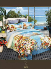 2015 lastest new design 80s China fabric 3d floral screen printed duvet cover set