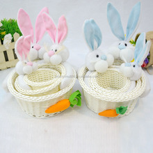 Creative and fashion PP weave candy basket Easter rabbit Fruit and vegetable basket