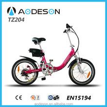 Good quality aluminium alloy 20 inch folding electric bike TZ204 ,lithium battery pocket bike with 250w 8fun motor for girls