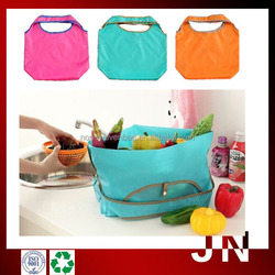 eco nylon foldable bag with pouch/2015 Fold Up Polyester Bag With Press Button Pouch