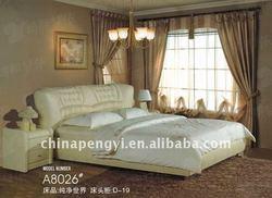 Modern leather bed design furniture wooden slat frame MI-8026