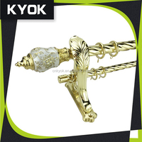 KYOK Cheap high quality Hotel project polished brass window curtain rod ,curtain rod accessories