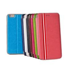 Colorful PU Leather For iPhone 6 Leather Wallet Stripe Case Cover