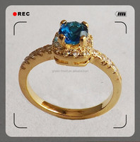 100% brass alloy plating gold diamond ring