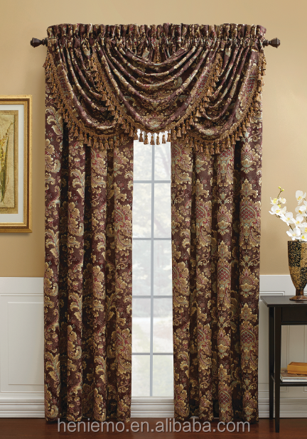 Luxurious designs curtain in jacquard printed for window for Window cotton design