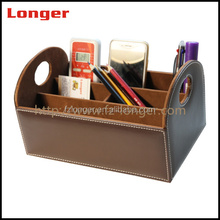 Personalized PU leather wooden desk organizer with multiple compartments wooden storage box
