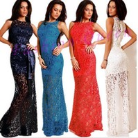 Maxi Long Lace Dress See Through Bodycon Party Long Dress Women Sexy Long Backless O Neck Dress Floral Summer Clothing