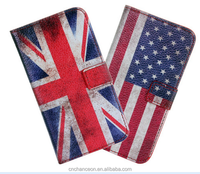 Global retro national flag design stand leather phone case for Samsung s4 s5 s5mini s6 s6 edge CO-LTC-1047