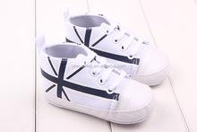 Latest Plain White Flag Design Baby Shoes Wholesale Canvas Fabric High Quality Walker Shoes