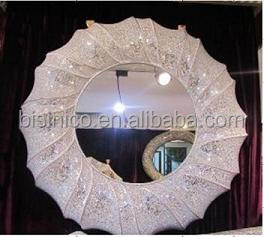 Modern Decorative Wall Mirrror Crackle Glass Mosaic Frame