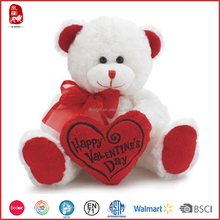 Cute valentine's day bear toy with red heart soft stuffed plush teddy bear