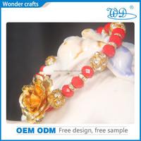 Online Shopping 24kt Gold rose Bracelets, Valentines Day Gift Gold Plated Bracelet For Lover