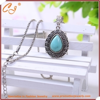Fashion And Personality Jewelry Big Droplets Turquoise Pendant Necklace Silver Plated