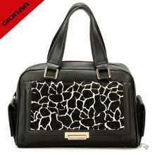 Zebra print handbags cow fur leather popular lady travel bag