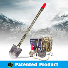 2015 New Auto accessory ,Multi-use steel pick shovel ,garden digging shovel ,with tactical knife and poratble LED light