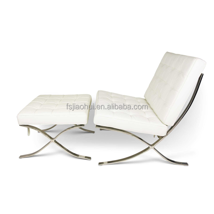White Leather Barcelona Chair Ottoman Ikea Barcelona