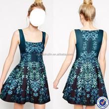 newest women clothing designer one piece girls party dress online shopping dress for women sleeveless print dress pleated skirt