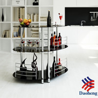 DAOHENG No.1 Selling Curve Glass Bar Table with Chrome Legs