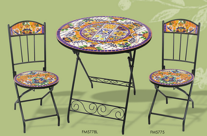 Ferro battuto e da giardino in ceramica mosaico tavolo e for Tavoli e sedie in ferro battuto da giardino prezzi